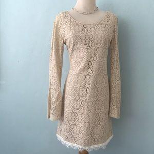 Corey Lynn Carter beige crochet sleeved dress/8